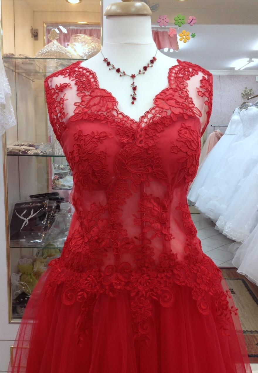 a563710180 Piros rövid tüll átlátszó.1 Menyecske ruha